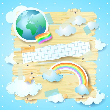 Planet earth on wooden panel and rainbow flag, concept illustration. Vector illustration eps10