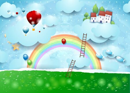 Paper landscape with clouds, stairways and flying village. Vector illustration eps10