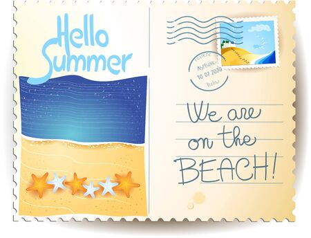 Summer postacard with seascape, text, stamp and postmark. Vector illustration eps10 写真素材 - 149281194