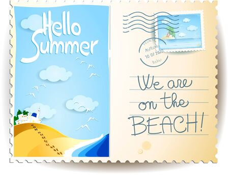 Summer postcard with seascape, stamp, postmark and text. Vector illustration eps10 写真素材 - 147752387