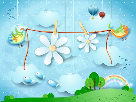 Surreal landscape with flying birds and hanging flowers. Vector illustration eps10