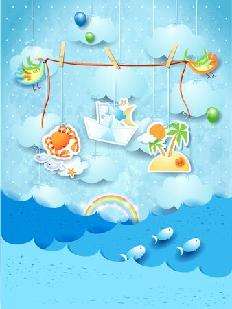 Fantasy seascape with flying birds with hanging stickers. Vector illustration eps10