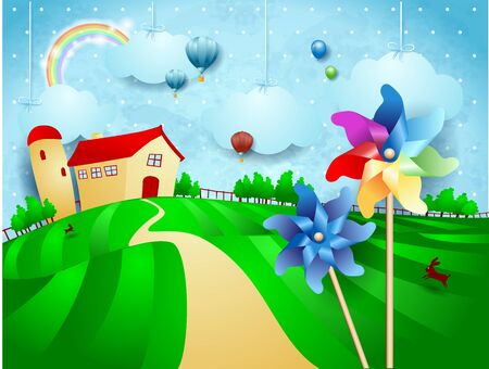 Fantasy landscape with farm, pinwheels and hanging clouds. Vector illustration eps10 写真素材 - 148436607