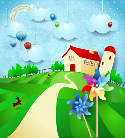 Fantasy landscape with farm, pinwheels and hanging clouds. Vector illustration eps10