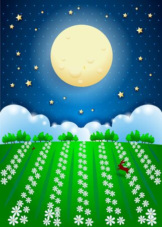Fantasy landscape with full moon and fiel of flowers, paper art. Vector illustration eps10 写真素材 - 148817401