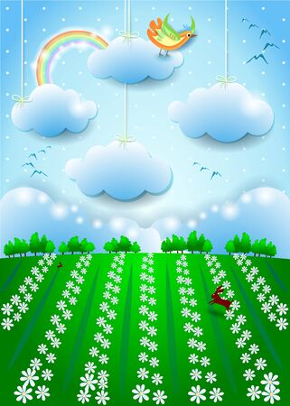 Fantasy landscape with bird, hanging clouds and field of flowers. Vector illustration eps10