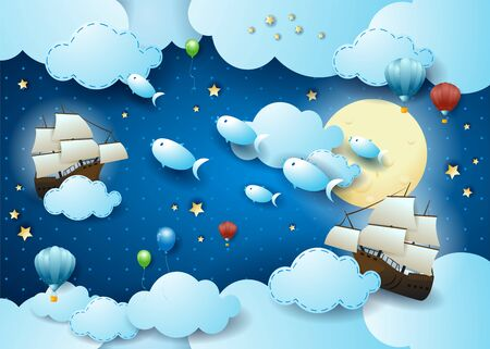 Starry sky with flying fishes and vessels, surreal illustration. Vector eps10 写真素材 - 149644311