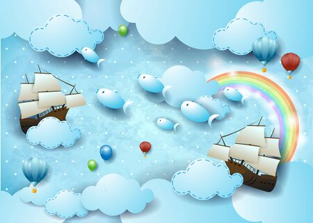 Fantasy sky by day with flying fishes and vessels, surreal illustration. Vector eps10