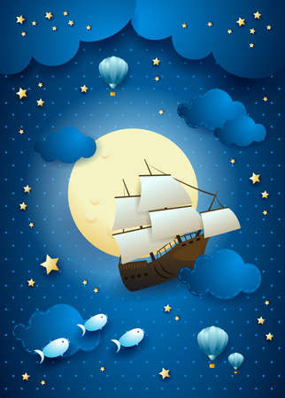 Fantasy sky by night with flying vessel and full moon. Vector illustration eps10  イラスト・ベクター素材