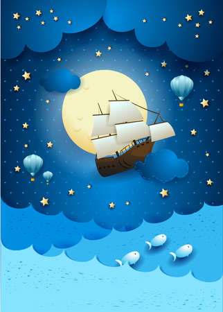 Fantasy seascape with flying vessel and full moon. 写真素材 - 151574490