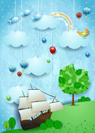 Fantasy landscape with big tree and beached vessel. Vector illustration eps10