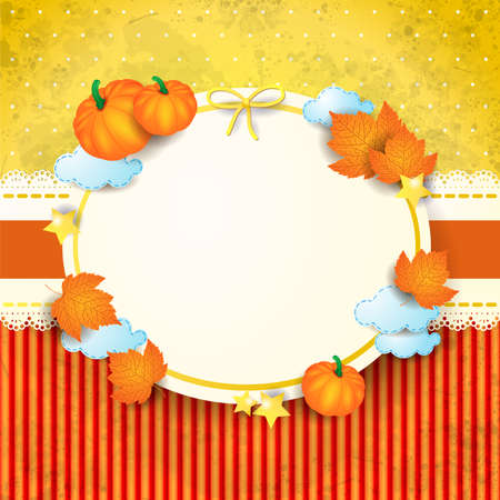 Autumn background with stickers and blank label. Vector illustration eps10 写真素材 - 153113885