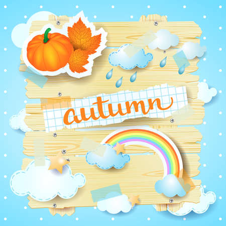 Autumn background with stickers and watercolor lettering. Vector illustration