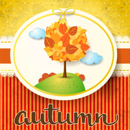 Autumn background with tree and watercolor calligraphy. Vector illustration eps10