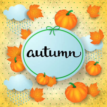 Autumn background with label, pumpkins, leaves, rain and text. Vector illustration eps10