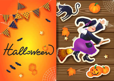 Halloween background with text and stickers on wood. Vector illustration eps10