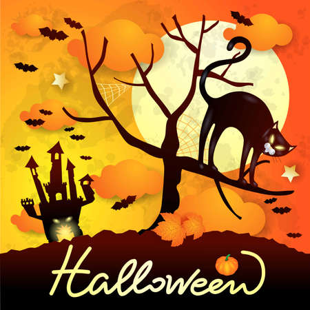 Halloween background with black cat, castle and text. Vector illustration eps10