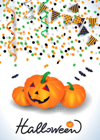Halloween background with pumpkins, confetti, streamers. Vector illustration eps10