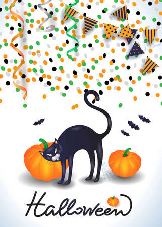 Halloween background with black cat, confetti, streamers. Vector illustration eps10