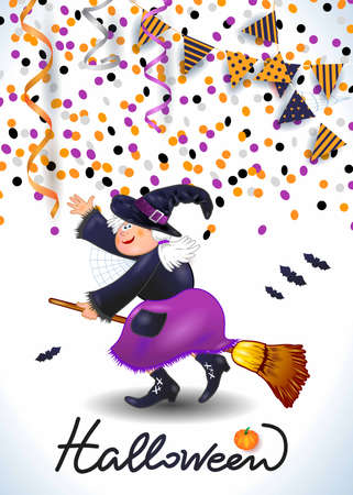 Halloween background with witch, confetti, streamers. Vector illustration eps10 写真素材 - 155864451