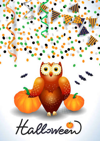 Halloween background with owl, confetti, streamers. Vector illustration eps10