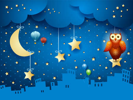 Fantasy landscape by night with urban skyline and owl. Vector illustration eps10