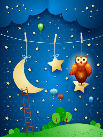 Fantaasy night with owl, hanging moon and stars. Vector illustration eps10