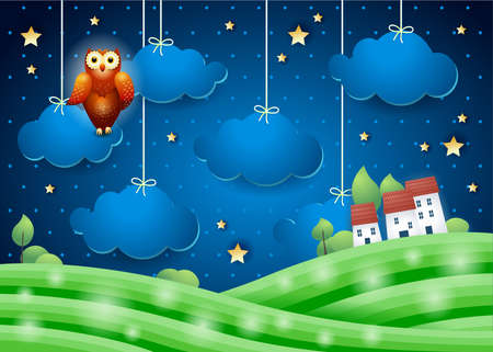 Fantasy landscape at night with owl and village, vector illustration eps10