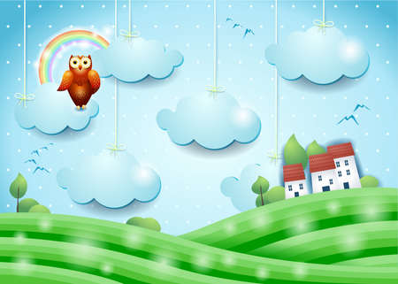 Fantasy landscape with owl and village, vector illustration eps10 Vettoriali