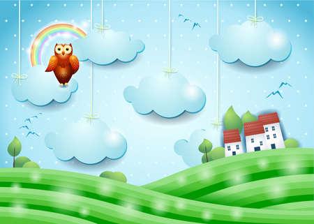 Fantasy landscape with owl and village, vector illustration eps10  イラスト・ベクター素材