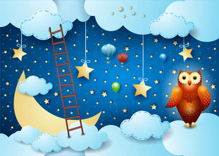 Surreal sky by night with stairway and owl, vector illustration eps10 Vettoriali