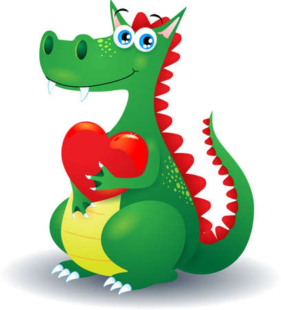 Dragon and heart, vector illustration eps10