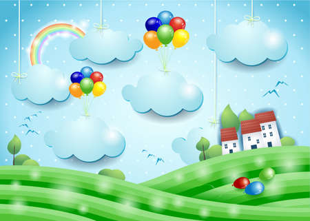 Fantasy landscape with balloons and hanging clouds, vector illustration eps10