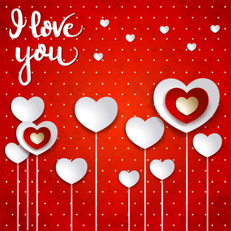 Valentine background with hearts and message on red. Vector illustration Vettoriali