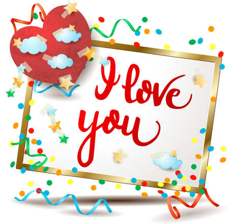 Valentine signboard with colorful paper heart and text. Vector illustration