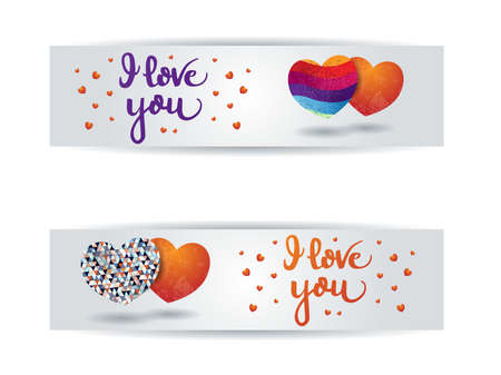 Valentine banners with hearts and message. Vector background Vettoriali