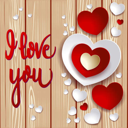 Valentine card with hearts and message on wooden background. Vector illustration eps10 Vettoriali