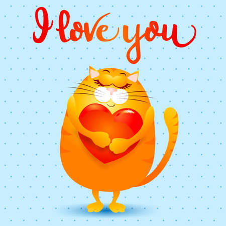 Cat in love with heart and message, valentine card. Vector illustration