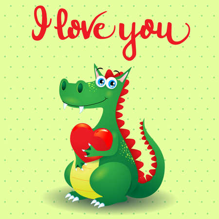 Dragon in love with heart and message. Vector illustration Vettoriali