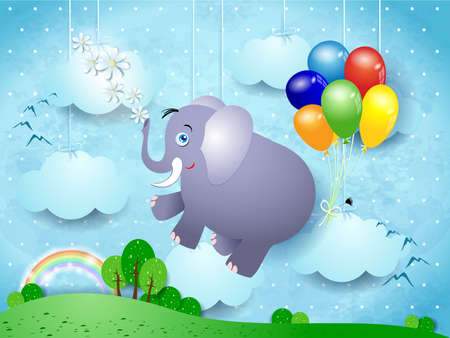 Cute flying elephant and balloons on spring landscape, vector illustration
