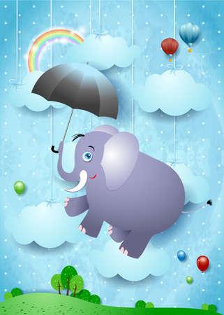 Cute elephant and umbrella on fantasy landscape, vector illustration eps10