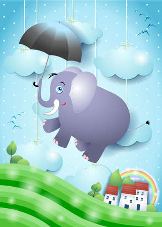 Cute flying elephant with umbrella on paper landscape. Vector illustration eps10