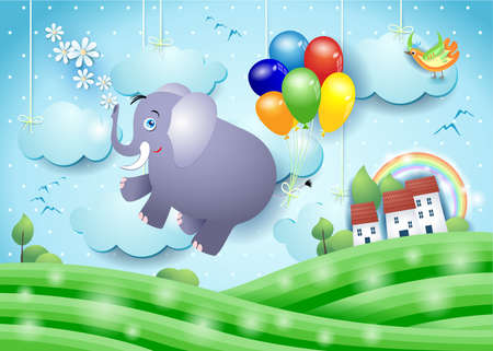 Cute flying elephant and balloons on paper landscape, vector illustration eps10