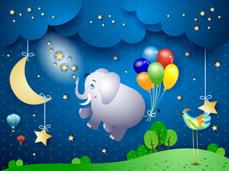 Cute flying elephant and balloons on night landscape