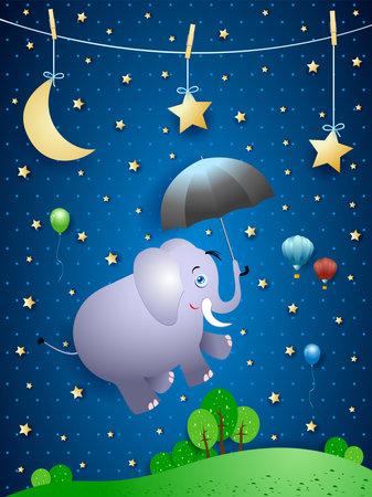Cute flying elephant and umbrella on night landscape, vector illustration