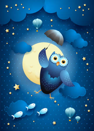 Cute flying owl with umbrella on starry sky, vector illustration eps10