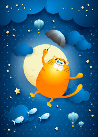 Cute flying cat with umbrella on starry sky, vector illustration eps10 Vettoriali
