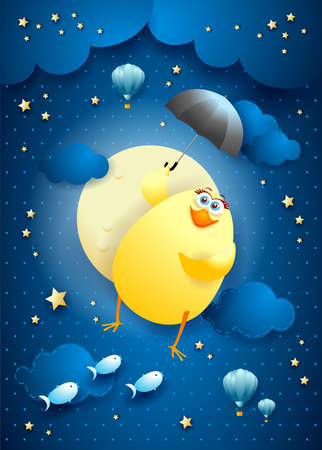 Cute flying chick with umbrella on starry sky, vector illustration eps10