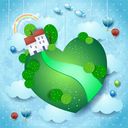 Fantasy landscape with homes and heart on sky background. Vector illustration eps10