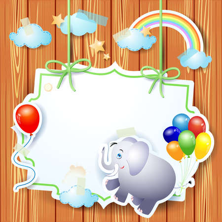 Fantasy Background with cute elephant and balloons and vintage label on wood. Vector illustration eps10